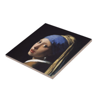 The Girl With A Pearl Earring by Johannes Vermeer Small Square Tile