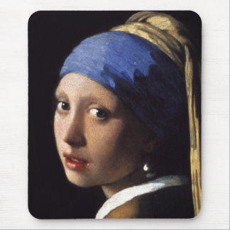 The Girl With A Pearl Earring in detail close up Mouse Pad