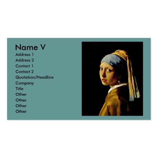 The Girl with a Turban/Girl with the Pearl Earring Business Cards