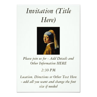 The Girl with a Turban/Girl with the Pearl Earring 4.5x6.25 Paper Invitation Card