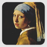The Girl with a Turban/Girl with the Pearl Earring Square Sticker