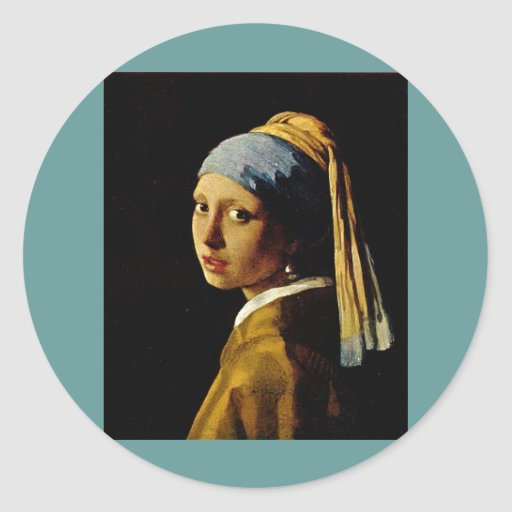 The Girl with a Turban/Girl with the Pearl Earring Classic Round Sticker