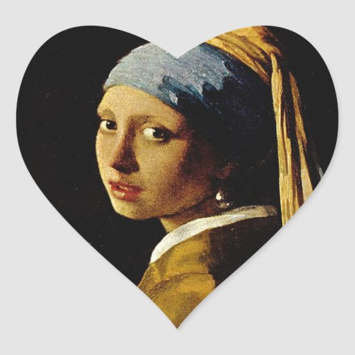 The Girl with a Turban/Girl with the Pearl Earring Heart Sticker