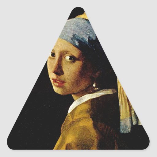 The Girl with a Turban/Girl with the Pearl Earring Triangle Sticker