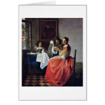 The Girl With A Wineglass. By Johannes Vermeer Greeting Cards