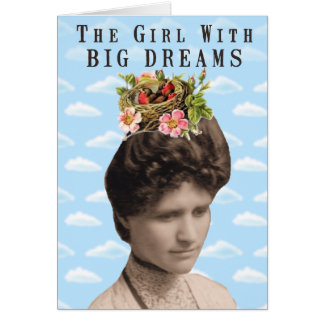 The Girl With Big Dreams (and big hair) Collage Greeting Cards