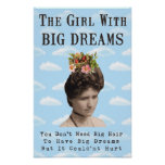 The Girl With Big Dreams (and big hair) Collage Print