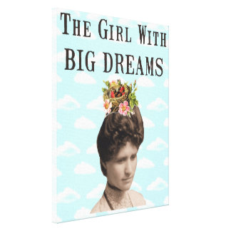 The Girl With Big Dreams Vintage Photo Collage Stretched Canvas Prints