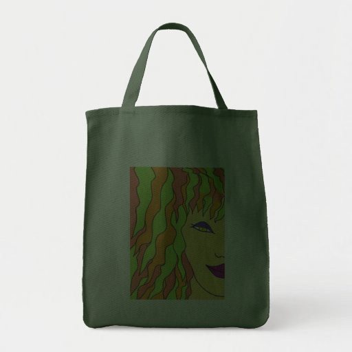 The Girl with Orange and Greeen Hair Bags