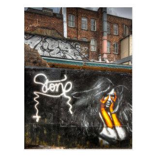 The Girl with Orange Gloves, Shoreditch Graffiti Postcard