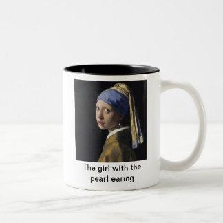 The girl with pearl earing Two-Tone coffee mug