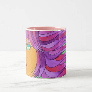 The Girl with the Breeze in Her Hair Two-Tone Coffee Mug