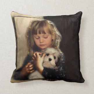 The Girl with the Dog Throw Pillow