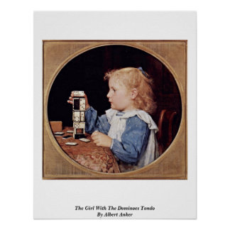 The Girl With The Dominoes Tondo By Albert Anker Posters