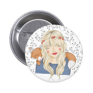 The girl with the fox pinback button