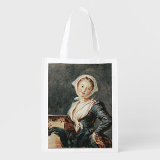 The Girl with the Marmot by Fragonard Grocery Bag
