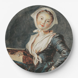 The Girl with the Marmot by Fragonard 9 Inch Paper Plate