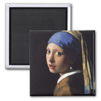 The Girl With The Pearl Earring by Vermeer 2 Inch Square Magnet