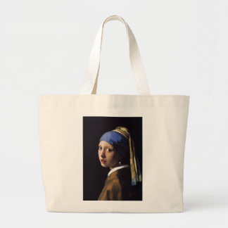 The Girl With The Pearl Earring by Vermeer Jumbo Tote Bag