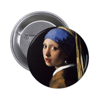 The Girl With The Pearl Earring by Vermeer Pinback Button
