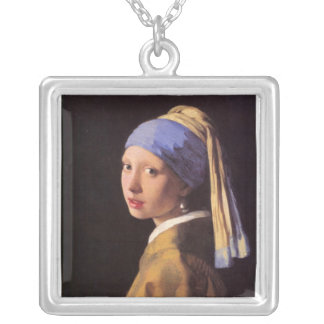 The girl with the pearl earring by Vermeer Silver Plated Necklace