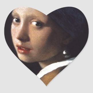 The Girl With The Pearl Earring Heart Sticker