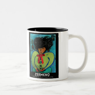 """The Girl with the Red Bow"" by Zermeno Two-Tone Coffee Mug"