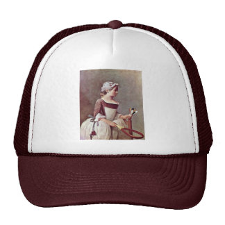 The Girl With The Shuttlecock By Chardin Jean-Bapt Trucker Hat