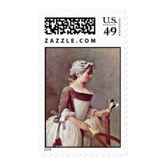 The Girl With The Shuttlecock By Chardin Jean-Bapt Postage Stamp