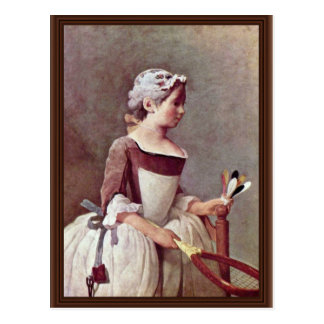 The Girl With The Shuttlecock By Chardin Jean-Bapt Postcards