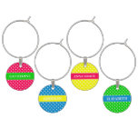 The Girls in Summer Brights Polka Dot Personalized Wine Charm