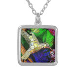 The Glass HummingBird Square Pendant Necklace