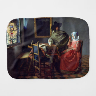 The Glass of Wine by Johannes Vermeer Baby Burp Cloth