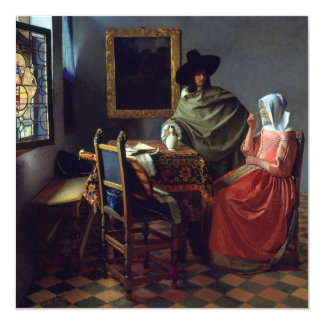 The Glass of Wine by Johannes Vermeer Card