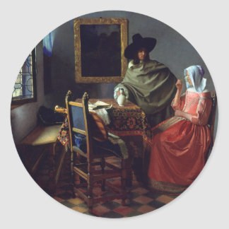 The Glass of Wine by Johannes Vermeer Classic Round Sticker