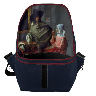 The Glass of Wine by Johannes Vermeer Courier Bag