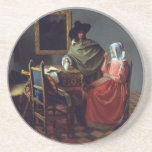 The Glass of Wine by Johannes Vermeer Drink Coaster