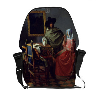 The Glass of Wine by Johannes Vermeer Messenger Bag