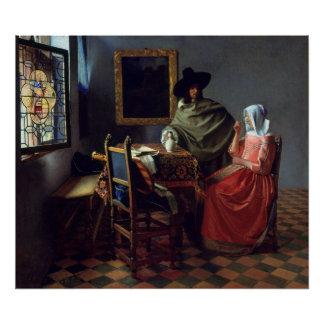 The Glass of Wine by Johannes Vermeer Posters