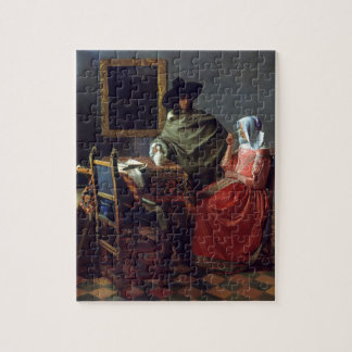The Glass of Wine by Johannes Vermeer Puzzle