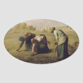 The Gleaners by Jean-François Millet 1857 Oval Stickers