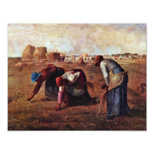 The Gleaners By Millet  (Best Quality) 4.25x5.5 Paper Invitation Card