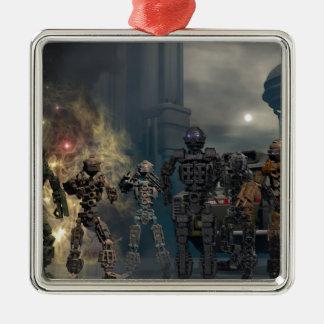 the glorious seven robots b metal ornament