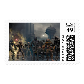 the glorious seven robots postage stamp