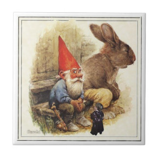 THE GNOME AND HIS RABBIT PUFFY TILE