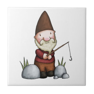THE GNOME WITH HIS FISHING ROD CERAMIC TILE