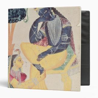 The God Krishna with his mortal love, Radha Vinyl Binder