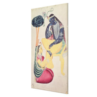 The God Krishna with his mortal love, Radha Canvas Print