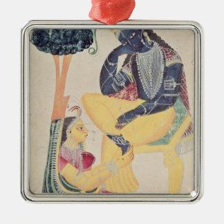 The God Krishna with his mortal love, Radha Metal Ornament