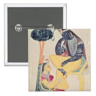 The God Krishna with his mortal love, Radha Pinback Button